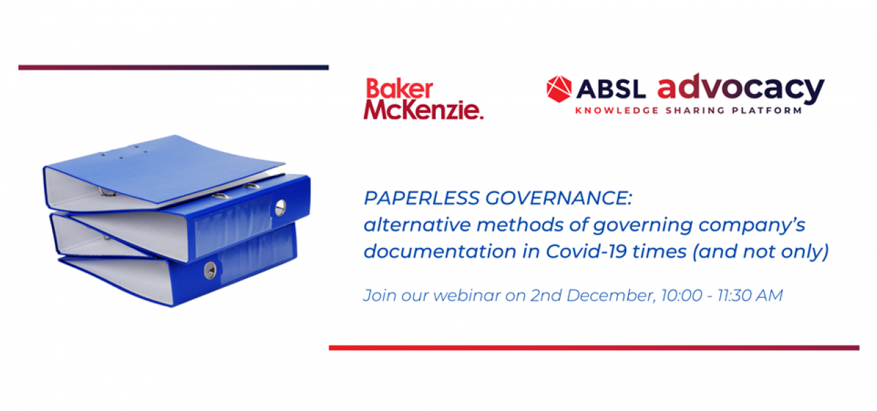 WEBINAR: Paperless governance: alternative methods of governing company's documentation in Covid-19 times (and not only)